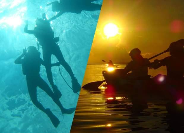 青の洞窟と美ら海シュノーケリング+夕日と星空のカヤック