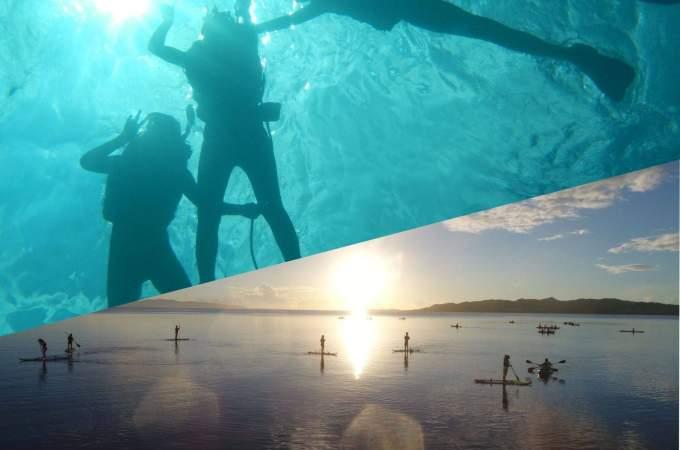 青の洞窟と美ら海シュノーケリング+夕日と星空のサップ